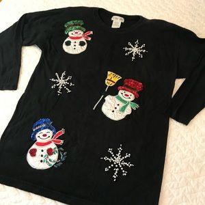 Snowman Ugly Christmas Black Tunic Top